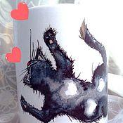 Посуда ручной работы. Ярмарка Мастеров - ручная работа Кружка с принтом Влюбленный кот. Handmade.