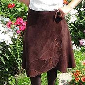 Одежда ручной работы. Ярмарка Мастеров - ручная работа Юбка из натуральной замши  цвета горького шоколада. Handmade.