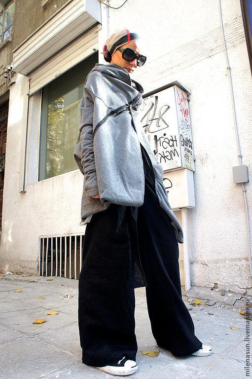 Верхняя одежда ручной работы. Ярмарка Мастеров - ручная работа. Купить Серое пальто  Asymmetric Gray. Handmade. Серый
