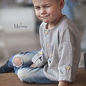 Рубашки ручной работы. Ярмарка Мастеров - ручная работа Рубашки: Рубашка для мальчика льняная нарядная красная зеленая. Handmade.