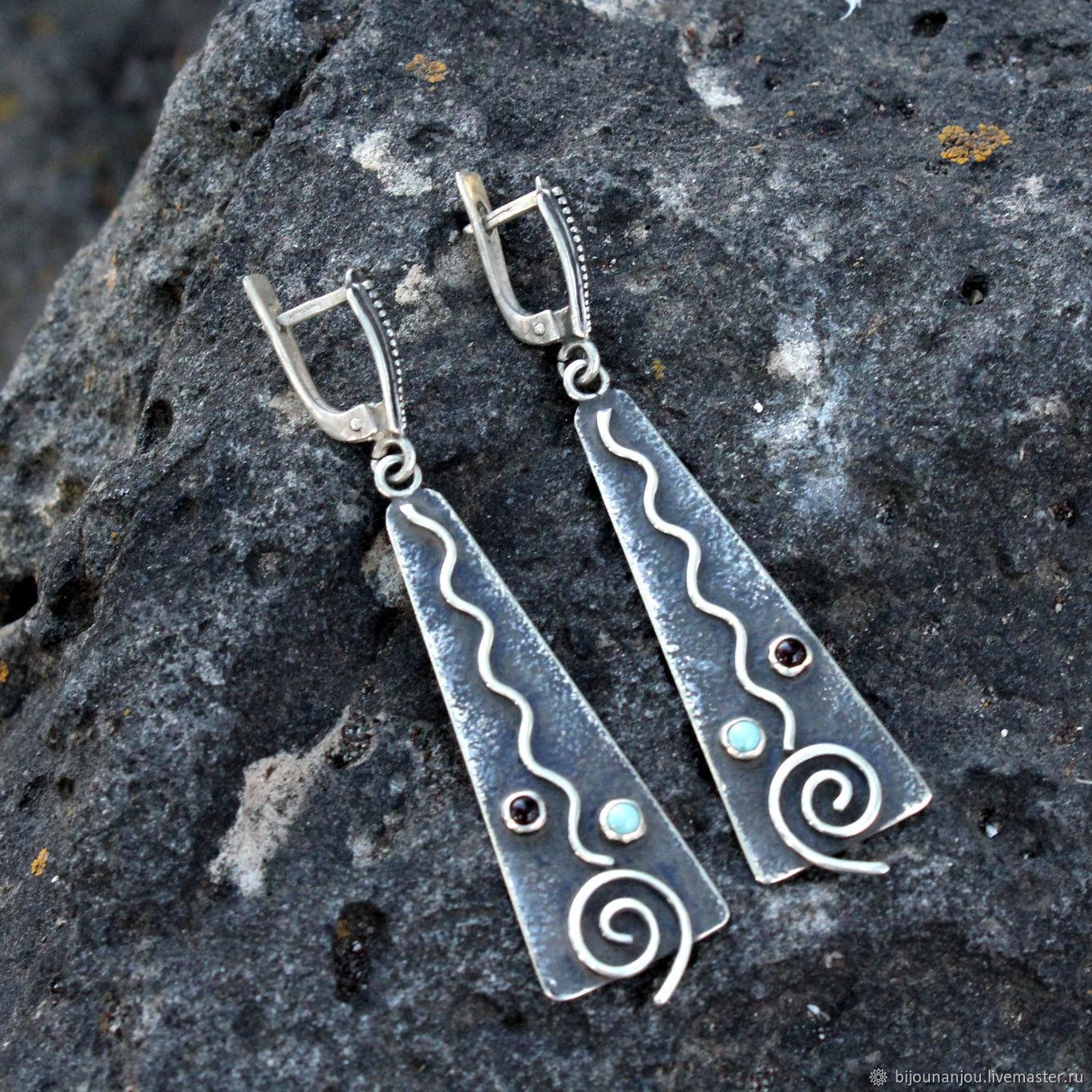 Ethno Silver Earrings with Turquoise in 925 Sterling silver RO0019, Earrings, Yerevan,  Фото №1
