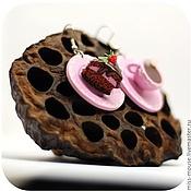 """Украшения ручной работы. Ярмарка Мастеров - ручная работа Серьги """"Шоколадный торт с малиновым суфле"""". Handmade."""