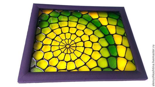 """Фэнтези ручной работы. Ярмарка Мастеров - ручная работа. Купить Панно """"Дракоша"""". Handmade. Ярко-зелёный, дракоша, стекло"""