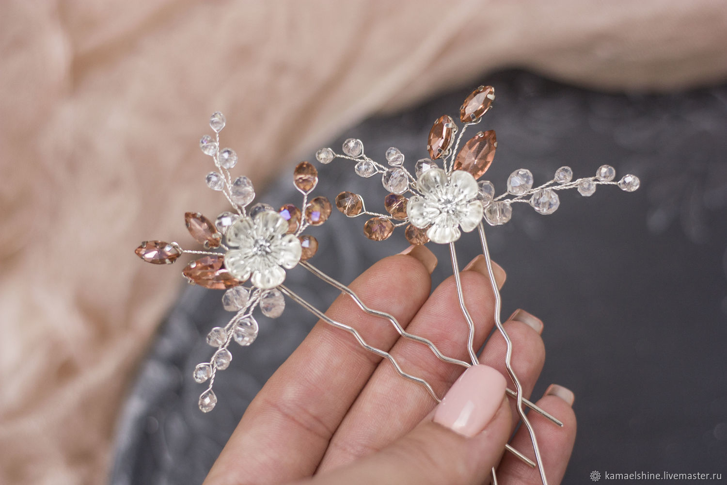 bee005e99f Wedding Jewelry handmade. Livemaster - handmade. Buy Peach wedding hairpins  set. decorations in ...