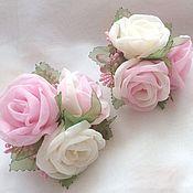 Работы для детей, handmade. Livemaster - original item Clip with roses made of fabric
