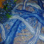 Аксессуары ручной работы. Ярмарка Мастеров - ручная работа Шарф валяный  Сине-голубой. Handmade.