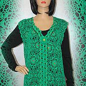 Одежда handmade. Livemaster - original item Knitted black crochet vest.. Handmade.