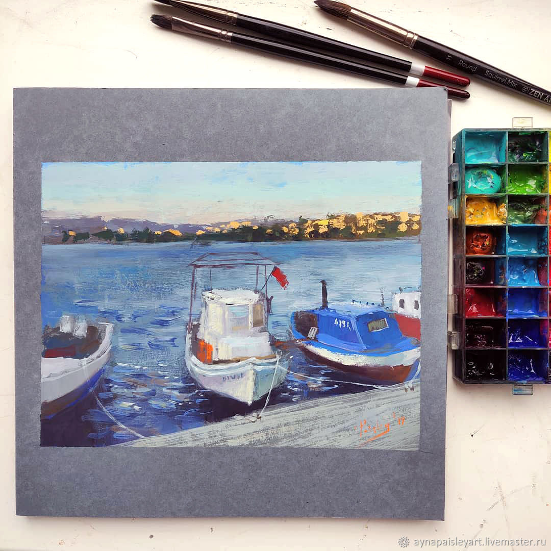 Gouache sketch - Sunset in Bodrum, Turkey, Pictures, Moscow, Фото №1