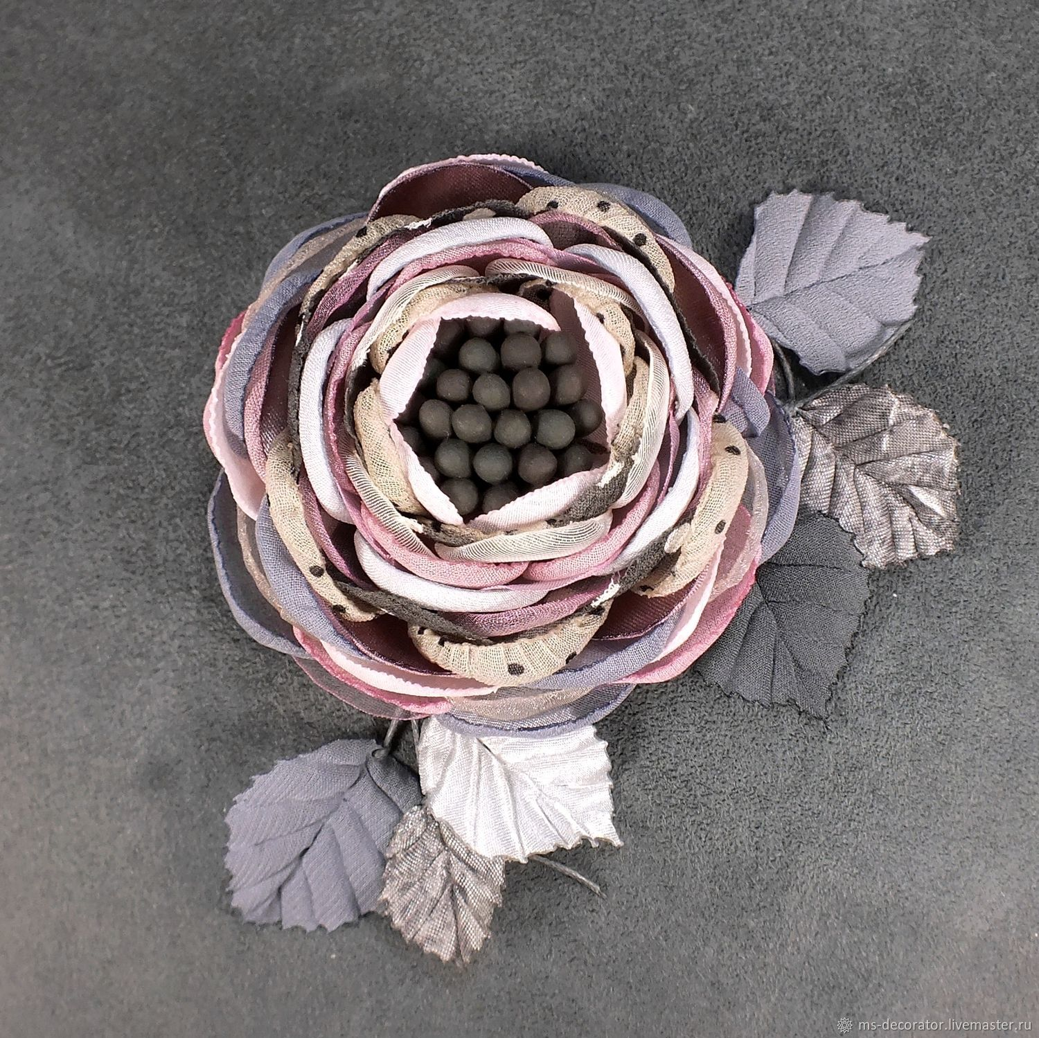 The brooch is handmade from a fabric of Daddy's girl, Brooches, St. Petersburg,  Фото №1