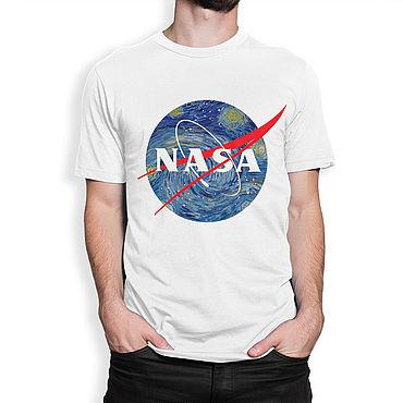 "Clothing handmade. Livemaster - original item Футболка хлопковая ""Звездная Ночь NASA"". Handmade."