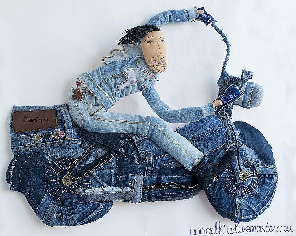 ДжинсОвый мен текстильная кукла подарок байкеру, Куклы и пупсы, Железнодорожный,  Фото №1