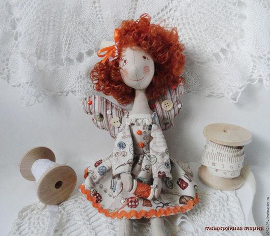 Коллекционные куклы ручной работы. Ярмарка Мастеров - ручная работа. Купить Кукла фейка-швейка Веснушка Лучик. Handmade. Оранжевый