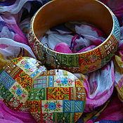 """Украшения ручной работы. Ярмарка Мастеров - ручная работа Серьги и браслет """"Лоскутное царство"""". Handmade."""