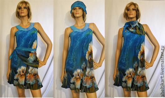 """Платья ручной работы. Ярмарка Мастеров - ручная работа. Купить Платье Батик """" Мальвина """". Handmade. Синий"""