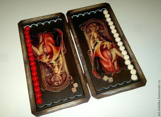 """Персональные подарки ручной работы. Ярмарка Мастеров - ручная работа. Купить Нарды """" Сердце дракона"""". Handmade. Коричневый"""