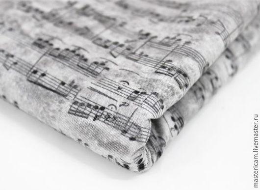 """Шитье ручной работы. Ярмарка Мастеров - ручная работа. Купить Ткань хлопок Корея 100% """"Ноты"""" 110 х 90 см. Handmade."""