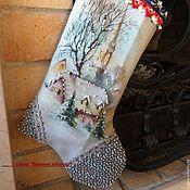 """Подарки к праздникам ручной работы. Ярмарка Мастеров - ручная работа Сапожок новогодний  """"Зимний пейзаж"""",вышивка бисером. Handmade."""