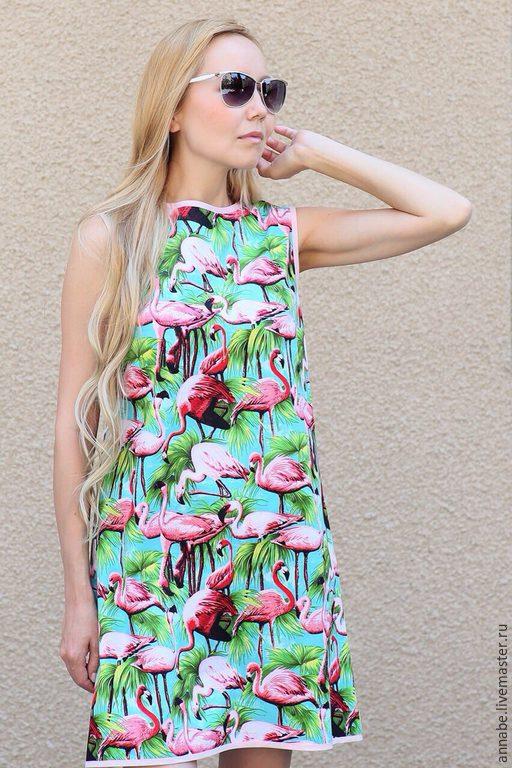 Платья ручной работы. Ярмарка Мастеров - ручная работа. Купить Платье Розовый фламинго Хлопок 100%. Handmade. Платье на лето