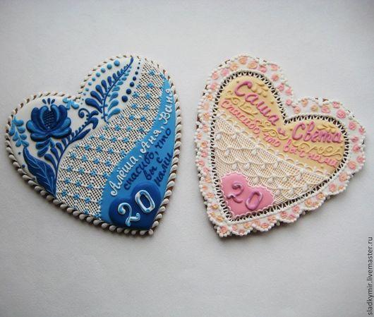 Кулинарные сувениры ручной работы. Ярмарка Мастеров - ручная работа. Купить Пряник Сердце - подарок гостям на фарфоровую свадьбу. Handmade.