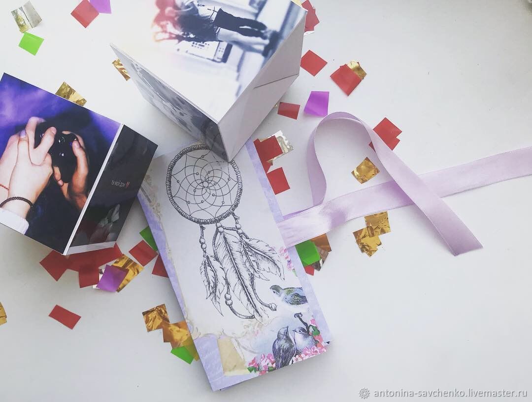 Открытка кубик с фото, днем рождения январь