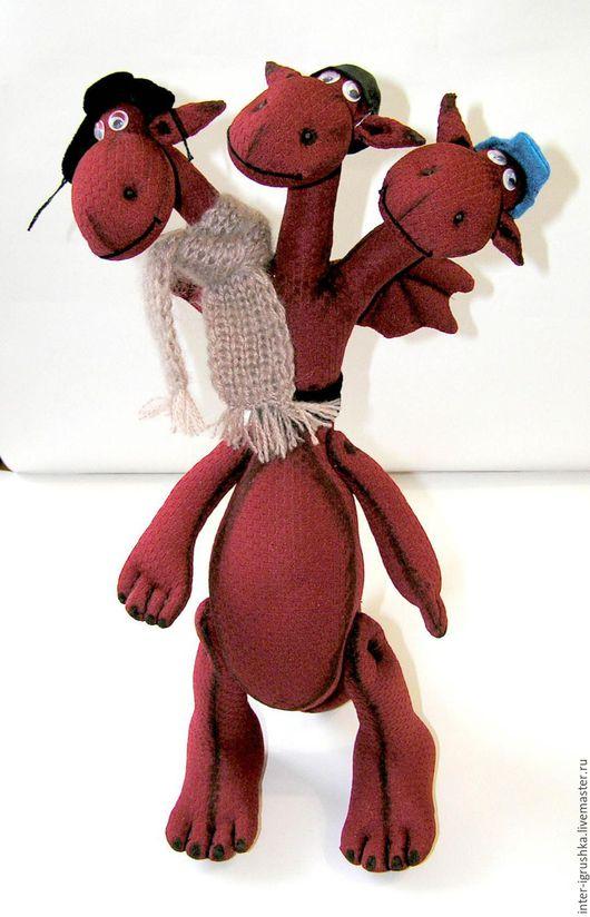 Сказочные персонажи ручной работы. Ярмарка Мастеров - ручная работа. Купить Змей Горыныч текстильная игрушка. Handmade. Коричневый