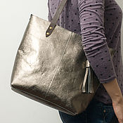 Серебряная сумка из натуральной кожи Silver Tote шоппер