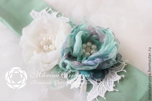 Пояса, ремни ручной работы. Ярмарка Мастеров - ручная работа. Купить Свадебный пояс. Handmade. Зеленый, свадебный пояс