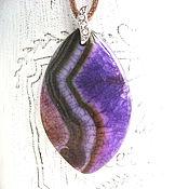 Украшения handmade. Livemaster - original item Oval pendant made of purple agate with druses of two colors. Handmade.