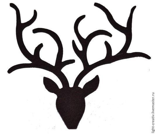 """Аппликации, вставки, отделка ручной работы. Ярмарка Мастеров - ручная работа. Купить Вырубка из фетра """"Северный олень с рогами"""". Handmade."""