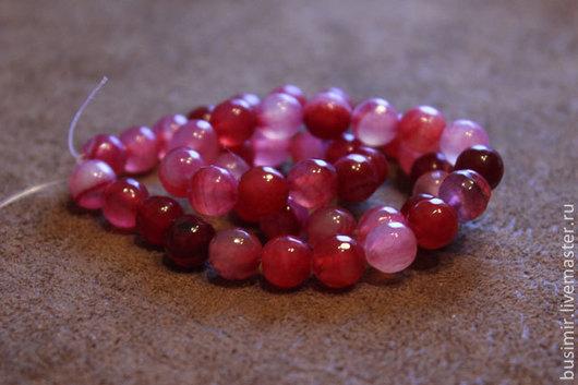 Агат Крэкл (кракле), цвет - красно-розовый микс. Бусины агата 8 мм, огранка. Агат для создания украшений. Busimir