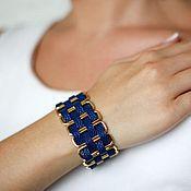 Украшения ручной работы. Ярмарка Мастеров - ручная работа Кожаный широкий браслет (синий). Handmade.