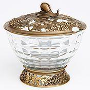 "Посуда handmade. Livemaster - original item Sugar bowl ""grapes"" with the snail; brass, glass. Handmade."