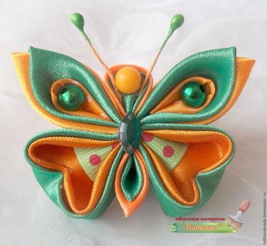Заколки ручной работы. Ярмарка Мастеров - ручная работа. Купить Бабочка канзаши.. Handmade. Комбинированный, лента атласная