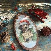 """Подарки к праздникам ручной работы. Ярмарка Мастеров - ручная работа Панно """"Merry Christmas"""" спил дерева. Handmade."""