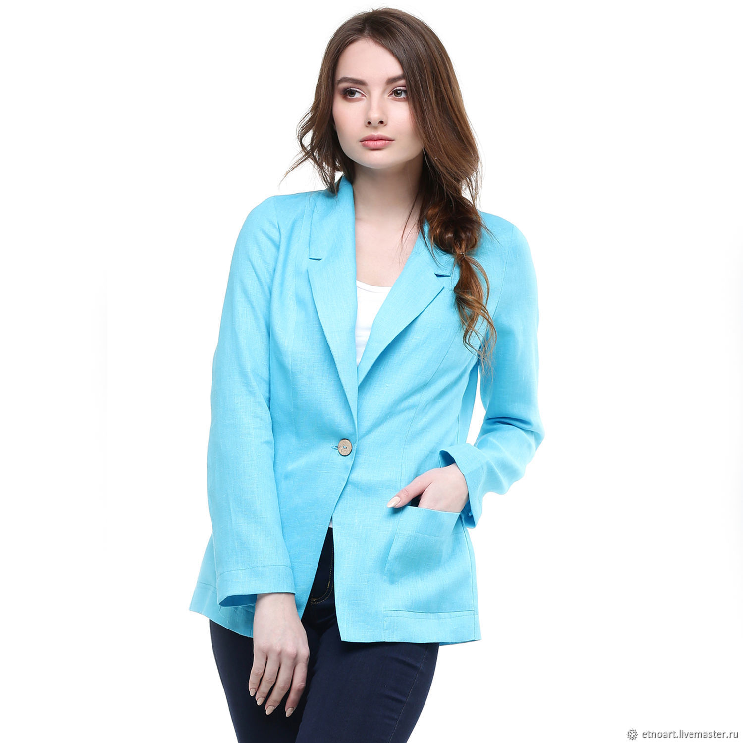 Linen jacket fitted turquoise, Suit Jackets, Tomsk,  Фото №1