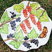 """Посуда ручной работы. Ярмарка Мастеров - ручная работа Тарелка фарфоровая мятая """"Смородина"""". Handmade."""