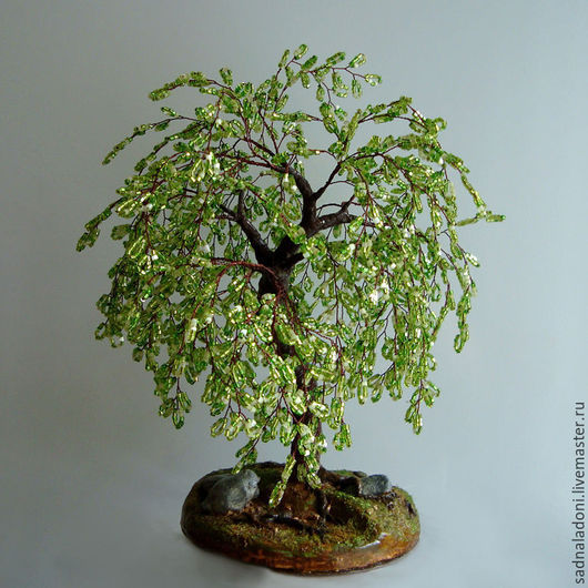 Дерево из бисера Ракита. Красивое дерево. Дерево счастья. Для дома и интерьера. Сад на ладони. Ярмарка мастеров.
