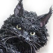 """Куклы и игрушки ручной работы. Ярмарка Мастеров - ручная работа фигурка большая """"Кот породы мейн кун"""" (черная кошка). Handmade."""