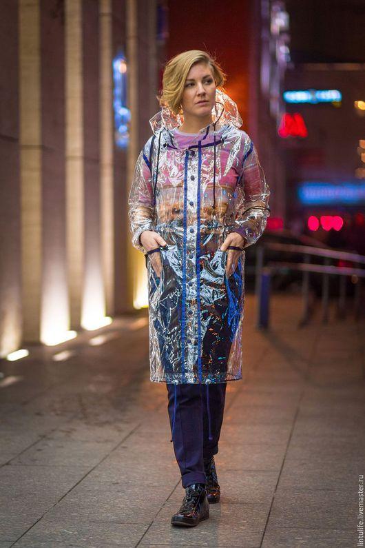 Верхняя одежда ручной работы. Ярмарка Мастеров - ручная работа. Купить Прозрачное пальто-дождевик. Handmade. Дождевик, lintulife, дождь