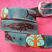 Аксессуары handmade. Livemaster - original item TREES AND WHALES strap leather. Handmade.