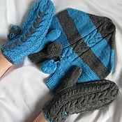 handmade. Livemaster - original item Mittens for lovers 2 2 1 gray turquoise mittens. Handmade.