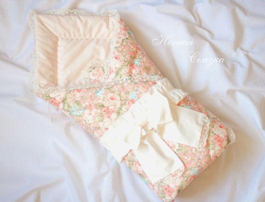 """Для новорожденных, ручной работы. Ярмарка Мастеров - ручная работа. Купить Одеяло-конверт на выписку """"Розы"""". Handmade. Розовый"""
