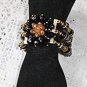 Украшения handmade. Livemaster - original item Bracelet made of black beads with gold lettering. Handmade.