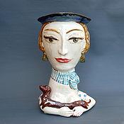 Вазы ручной работы. Ярмарка Мастеров - ручная работа Дама с собачкой.Скульптурная ваза-бюст. Handmade.