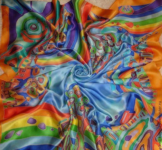"""Шали, палантины ручной работы. Ярмарка Мастеров - ручная работа. Купить Платок """"Город радуг оранжевый"""". Handmade. Синий"""