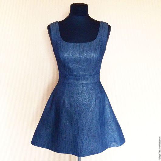Платья ручной работы. Ярмарка Мастеров - ручная работа. Купить Стильный сарафан из джинсы с люрексом. Handmade. Тёмно-синий