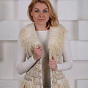 Одежда ручной работы. Ярмарка Мастеров - ручная работа Пальто-жилет в твидовой технике с эко-мехом. Handmade.