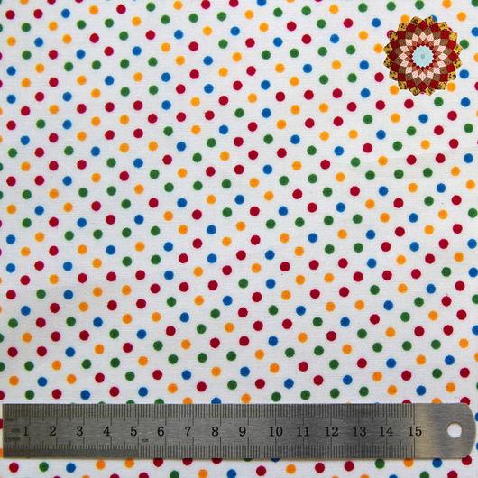 Ткань хлопок `Горошек разноцветный на белом`. Код товара: ZT-00074