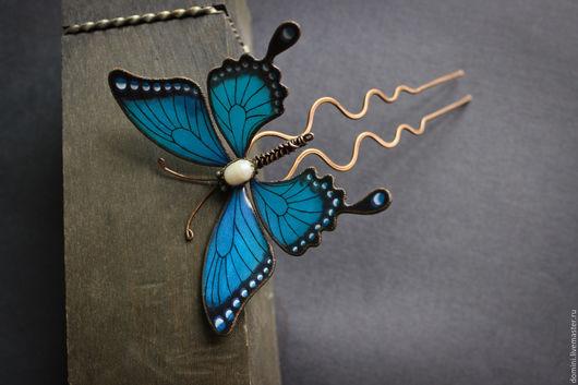 """Заколки ручной работы. Ярмарка Мастеров - ручная работа. Купить Шпилька """"Бабочка"""". Handmade. Синий, ночная бабочка, украшение из меди"""