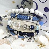 Украшения handmade. Livemaster - original item Blue BOHO-chic bracelet with white stones
